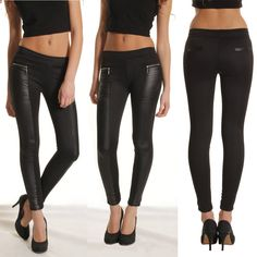 New High Waisted PU Leather Leggings Jeggings Stretchy Skinny Warm Pants #Unbranded #Leather