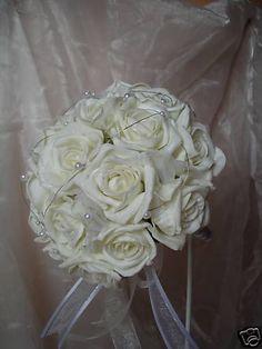 WEDDING FLOWERS BRIDESMAID IVORY ROSE & PEARL BOUQUET ebay