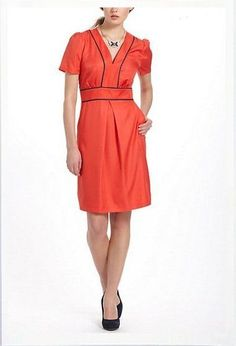 $148 Anthropologie Hi There Karen Walker Piped Perdita Satin Dress  Size 14