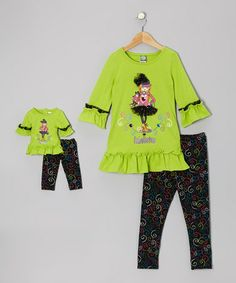 Take a look at this Lime & Black 'Fabulistas' Ruffle Tunic Set & Doll Outfit - Girls by Dollie & Me on #zulily today!
