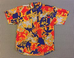 4fe715e1 1990's, silk, short sleeve, button up, collar shirt, in ornate print