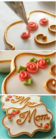 to pipe simple swirl roses on cookies (SweetSugarBelle).How to pipe simple swirl roses on cookies (SweetSugarBelle). Mother's Day Cookies, Fancy Cookies, Iced Cookies, Cookies Et Biscuits, Cupcake Cookies, Icing Cupcakes, Cookie Favors, Flower Cookies, Heart Cookies