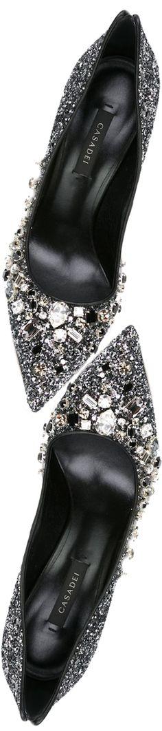 Casadei Embellished Glitter Pumps in Black