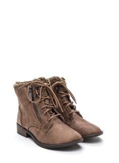 Tough Path Shearling Lace-Up Boots TAUPE