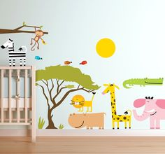 A collection of animal wall stickers to decorate your child's nursery or play area. Brilliant jungle decal suitable for all kids. Looking for an original design to entertain your child? A high quality design that your child will definitely love!  #jungle #animals #tree #zebra #elephant #giraffe #sun #deco #colorful #monkey #home #kids #room #wallstickers #tenstickers #tenvinilo