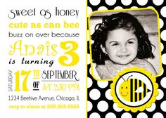 Bee Invitation Turning 3 Invitations Digital Birthday Bumble