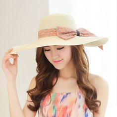 Floppy sun hats for women with bow beach wide brim straw hat package