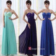 Cheap Blue Purple Beads Chiffon Long Formal evening dresses Prom dresses 2013