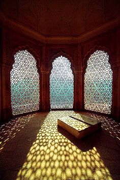 Lacy light - Amber Fort in Jaipur, India. conservatory is located on the south side of the Amber Fort in Jaipur, India. The three windows are carved from stone with a repeating geometric pattern Architecture Design, Islamic Architecture, Morrocan Architecture, Windows Architecture, Building Architecture, Shadow Architecture, Beautiful Architecture, Residential Architecture, Moroccan Style