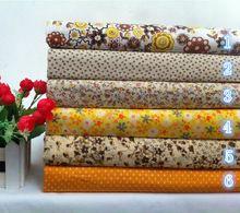 Nuevo! 6 unids 50 * 50 cm amarillo Floral imprimir algodón tela grasa trimestre paquete para bricolaje tejido a Patchwork coser juguetes de bebe acolchado textil(China (Mainland))
