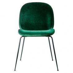Chaise Beetle velours vert - Gubi