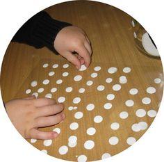 fabriquer ses propres gommettes ( encre, colle vinylique et plastique transparent)