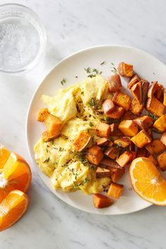 With the sweet potatoes already roasted the day before, this breakfast is ready in a flash. Serve with 1 orange or 2 clementines to compl. Brunch Recipes, Breakfast Recipes, Breakfast Menu, Breakfast Ideas, Chessy Food, Sweet Potato Home Fries, Cooking Light, Everyday Food, Southern Recipes