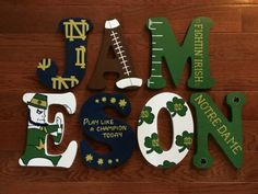 Wood Letter Crafts, Wood Letters Name, Painted Wood Letters, Hand Painted, First Birthday Parties, Birthday Party Themes, First Birthdays, Birthday Ideas, Notre Dame Colors