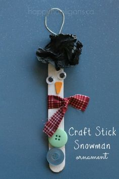 Craft Stick Snowman Ornaments - happy hooligans - easy Christmas Craft