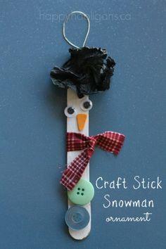 Craft Stick Snowman Christmas Tree Ornament