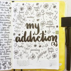 Inspiration for a journal page: list all your addictions