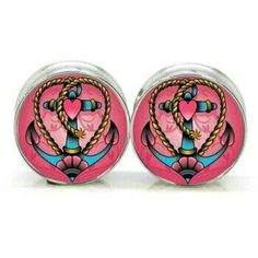 5//16 wearable 3//4 Pair of Double Flared Chechen Anchor Plugs