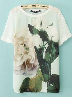 White Short Sleeve Flowers Print T-shirt US$20.83