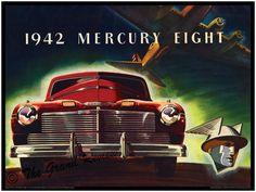 Vintage Car Print - 1942 Mercury Eight - Post December 7 1941