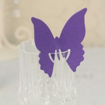 Purple Butterfly Place Cards designed to elegantly on the top of your glass