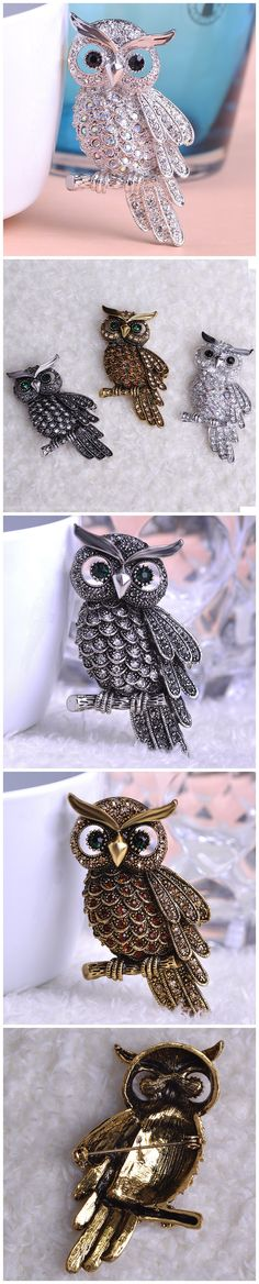 Anti Gold Big Owl Broches Only $12.99 => Save up to 60% and Free Shipping => Order Now! #Ring #Jewelry #woman #fashion www.fancyjewelrie...