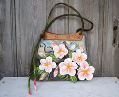 Unique felted bag with 3D sakura flowers with wooden by filcAlki, $179.00