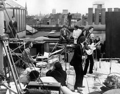 The last public appearance of The Beatles on the roof of Apple Records headquarters January 30, 1969