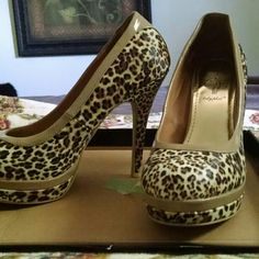 Baby Phat platform heels 8 BNIB. NEVER WORN, BEAUTIFUL! Leopard print Baby Phat Shoes Platforms