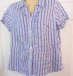 COVINGTON Blouse - XL - Misses -Button Down - Purple Stripe - Poly/Cotton -  #Covington #ButtonDownShirt #Casual