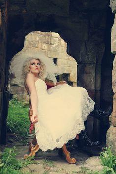 Wedding dress with biker boots, amazing!