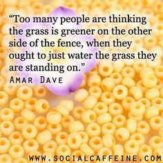 The grass ain't always greener on the other side, its greener where you water it.