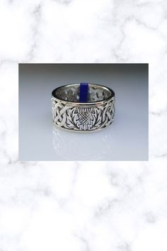 Scottish Thistle Band Sterling Silver Ring by Peter Stone Scottish Thistle, Fantasy Jewelry, Sterling Silver Rings, Fine Jewelry, Rings For Men, Gems, Wedding Rings, Engagement Rings, Band