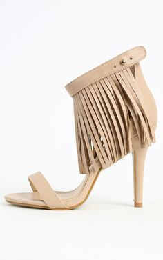 Ankle heels with extra long fringe. So fun!  | MakeMeChic.com