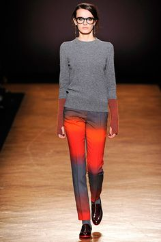 "Paul Smith Women's RTW Fall 2012.  Love the gradient and the ""gloves"" in the sweater.  Check out the soles of the shoes..."