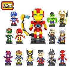 LOZ The Avengers Deadpool Captain America Hulk Iron Man Thor Loki Diamond Building Blocks Action Figure Children DIY Toy