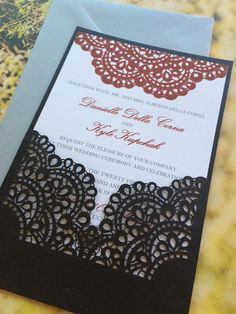 Lasercut Wedding Invitation Sleeve Pocket - Romantic Lace Pattern 2 - Die Cut Pocket