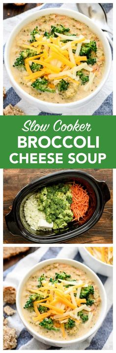 Easy and healthy recipe for Slow Cooker Broccoli Cheese Soup! It's better than Panera's broccoli and cheese soup, because this a crock pot recipe! #slowcooker #soup #recipe #crockpot