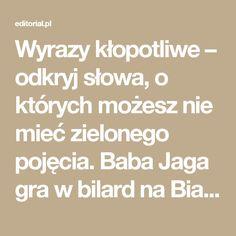 Wyrazy kłopotliwe – odkryj słowa, o których możesz nie mieć zielonego pojęcia. Baba Jaga gra w bilard na Białostocczyźnie z bukaresztenką, cz. 3 – Studio Editorial – blog