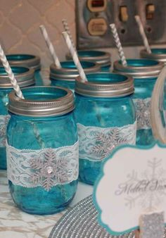 Melted snowman mason jar drinks at a Frozen birthday party!  See more party planning ideas at CatchMyParty.com!