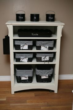 Great storage idea using an old dresser - with bins for socks, etc. or without bins for shirts, shoes...