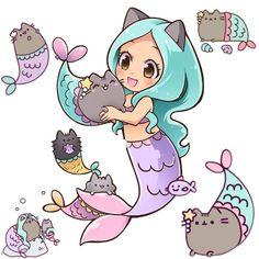 Mermaid Pusheen by nekoshiei. on - : Mermaid Pusheen by nekoshiei. Doodles Kawaii, Cute Kawaii Drawings, Cute Animal Drawings, Cute Doodles, Kawaii Art, Kawaii Nails, Kawaii Pusheen, Gato Pusheen, Pusheen Unicorn