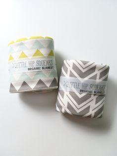Baby Blanket, Geometric Triangles, Neon and Seafoam, Modern Organic Baby Bedding, Ready to Ship. $44.80, via Etsy.