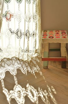 so this is why lace curtains - the sun shining through and the consequential shadow!