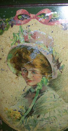 Pretty lady detail on a vintage tin