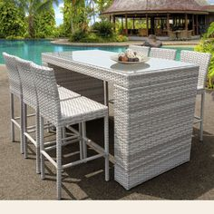 Add classic style to your outdoor dining room with the TK Classics Fairmont All-Weather Wicker 7 Piece Patio Bar Table Set . This bar table set includes. Outdoor Patio Bar Sets, Outdoor Wicker Patio Furniture, Patio Furniture Sets, Wicker Furniture, Outdoor Decor, Patio Ideas, Outdoor Living, Outdoor Ideas, Backyard Ideas