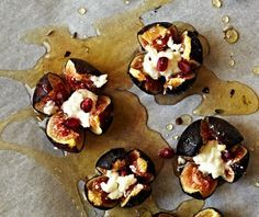 Fill roasted figs with goat cheese and drizzle with honey to make this dish.
