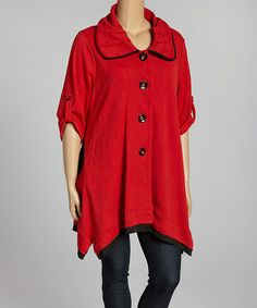 Love this Red Textured Button-Up Swing Jacket - Plus by Come N See on #zulily! #zulilyfinds