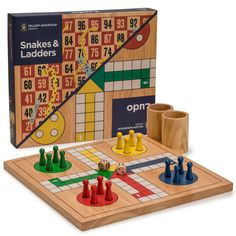 Yellow Mountain Imports Reversible Wooden Snakes and Ladders, Ludo Game Set Games For Fun, Card Games For Kids, Math Card Games, Dice Games, Othello Game, Glass Chess Set, Play Snake, Field Day Games, Games For Kids Classroom