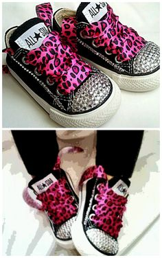 rhinestone converse toddler girl shoes with pink leopard ribbon laces